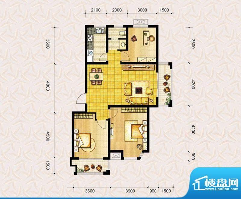达美水岸二期c3户型 3室2厅1卫面积:111.00平米