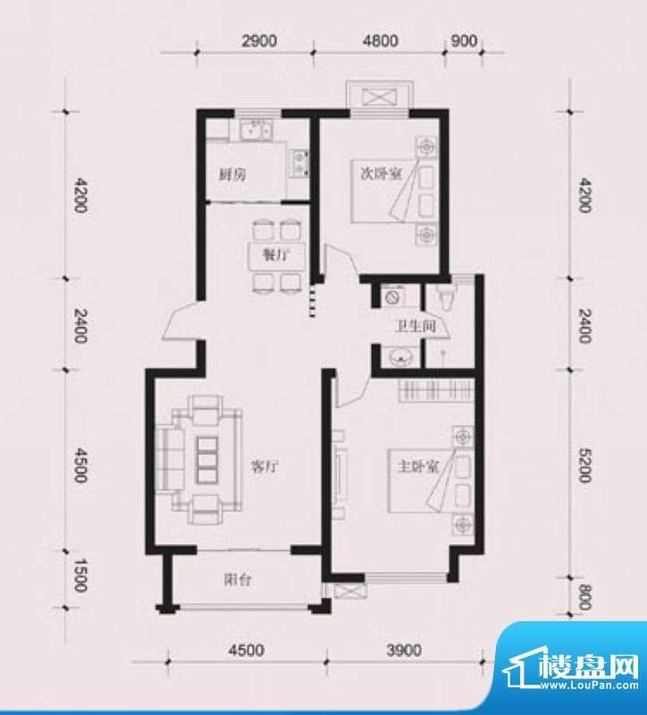 达美水岸一期B4户型 2室2厅1卫面积:97.00平米