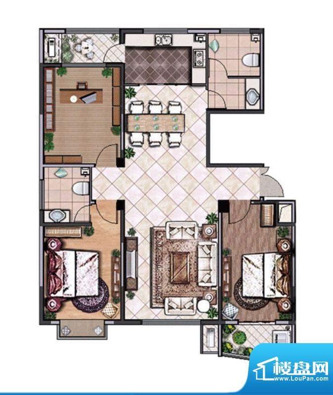 唐宁府宽景尊邸-A3室2厅2卫1面积:137.80平米