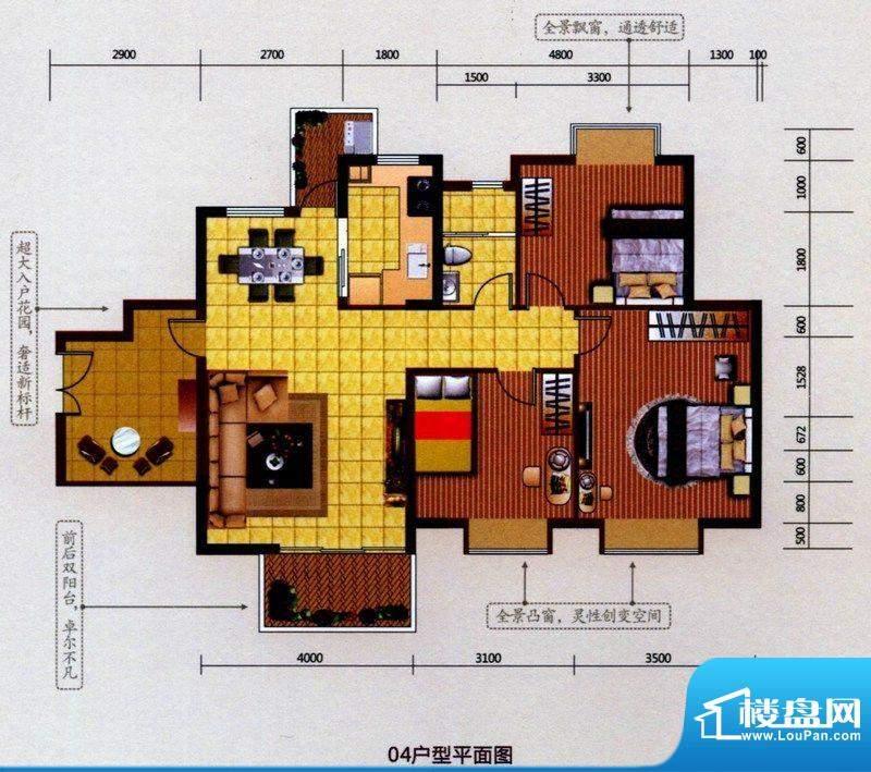 5号楼标准层04户型 3室