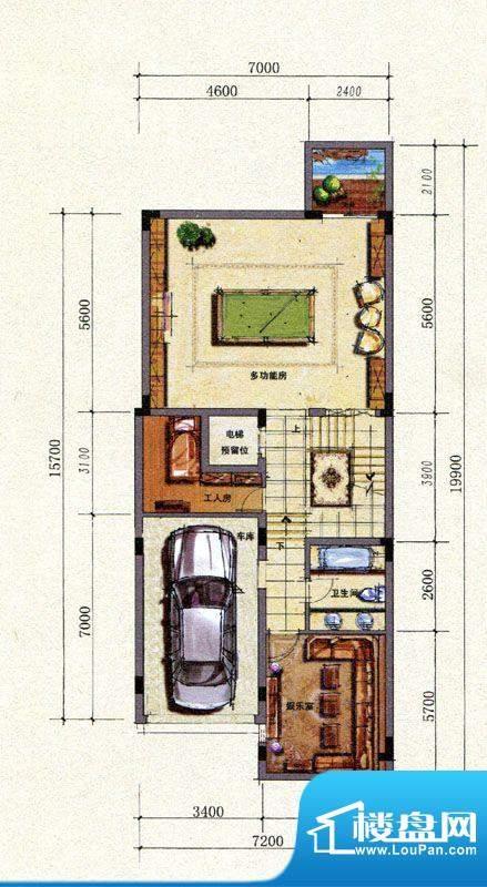 B户型地下室平面