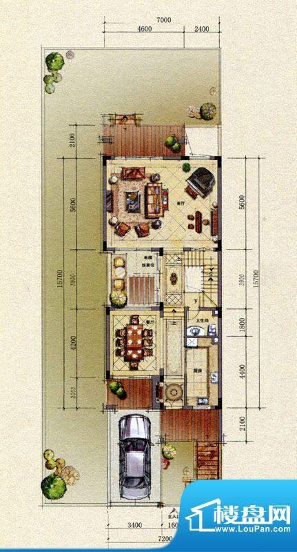 双山墅B户型首层平面图