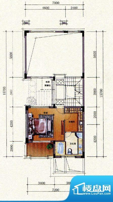 双山墅B户型二层平面图