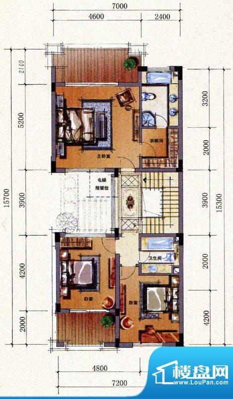 双山墅B户型三层平面图