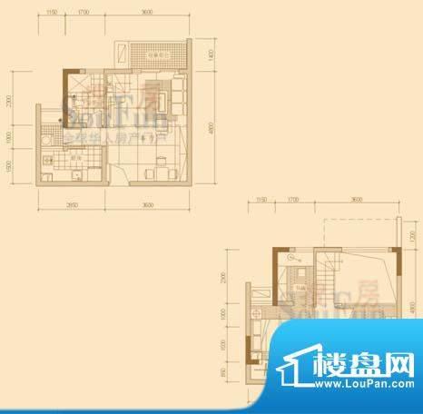 金泓财富公馆经典户型2 2室1厅面积:40.23平米