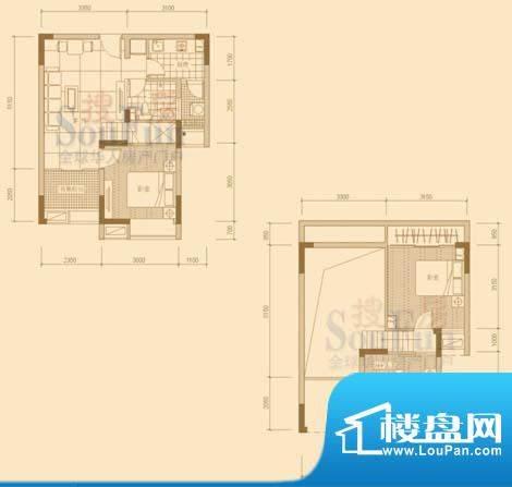 金泓财富公馆经典户型1 3室2厅面积:53.13平米
