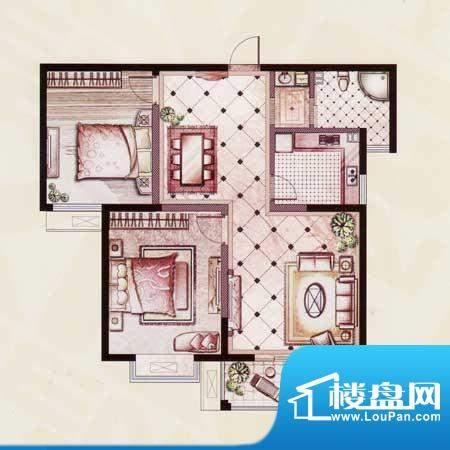 帝景苑20#-B户型 2室2厅1卫1厨面积:103.19平米