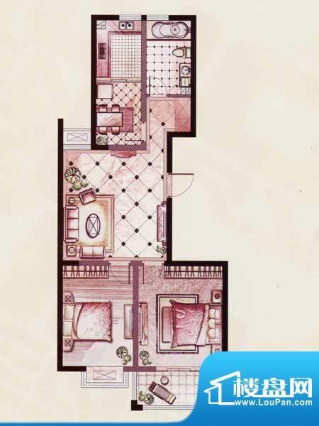 帝景苑14#-B户型 2室2厅1卫1厨面积:98.15平米