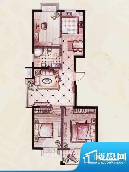 帝景苑14#-A户型 3室2厅1卫1厨面积:107.51平米