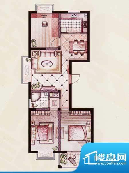 帝景苑31#-A户型 3室2厅1卫1厨面积:97.72平米
