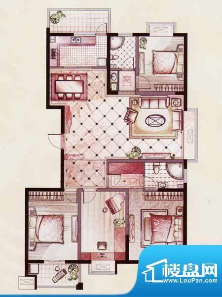 帝景苑26#-C户型 4室2厅2卫1厨面积:162.03平米