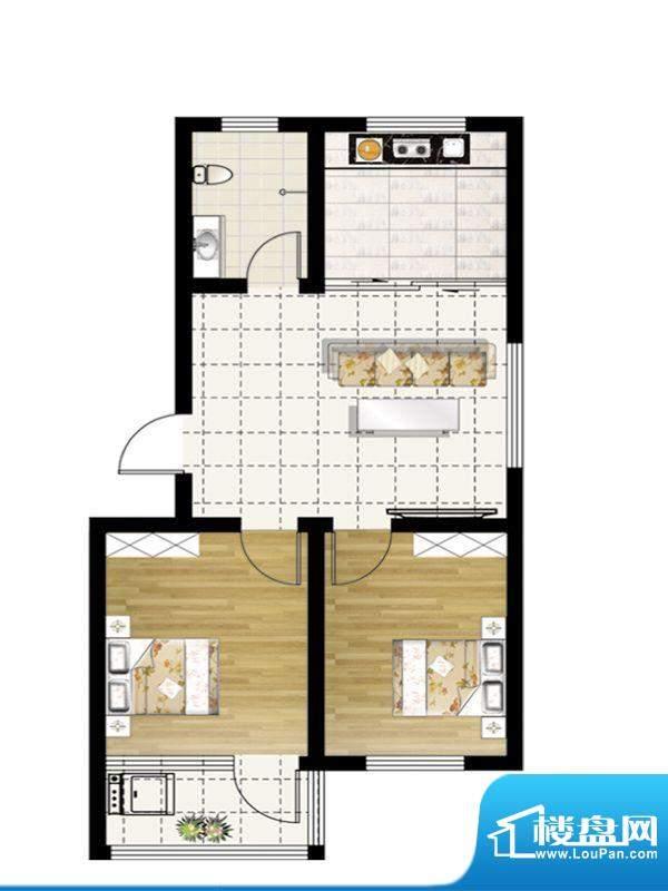 惠和园一期多层17号楼标准层H户面积:74.00平米
