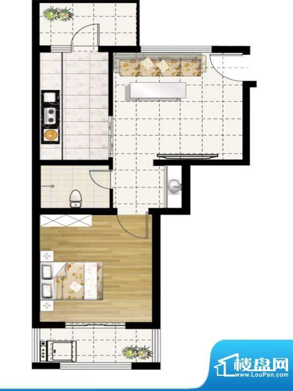 惠和园一期多层11号楼E户型 1室面积:69.00平米