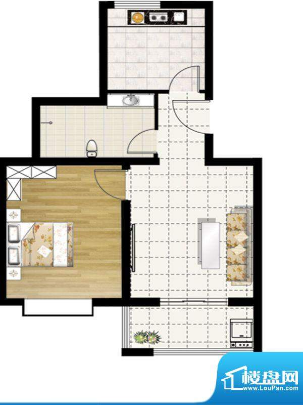 惠和园一期多层11号楼标准层F户面积:60.00平米