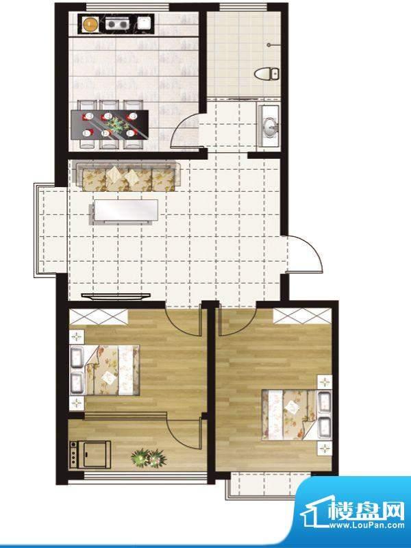 惠和园一期多层14号楼标准层G户面积:80.00平米