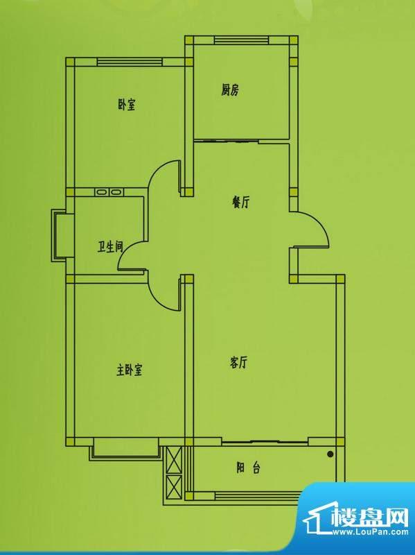 惠和园1号楼标准层户型 2室2厅面积:86.00平米