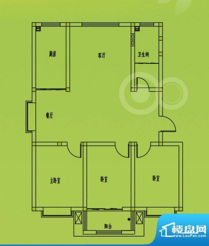 惠和园2号楼标准层户型 3室2厅面积:118.00平米