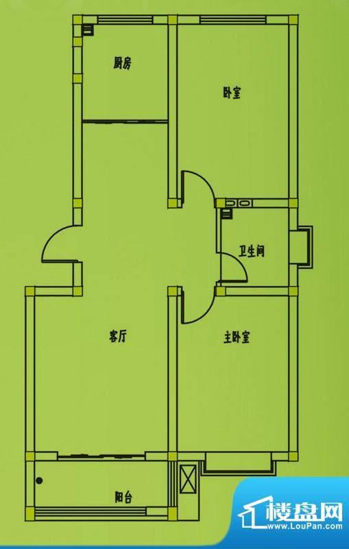 惠和园2楼标准层户型 2室2厅1卫面积:90.00平米