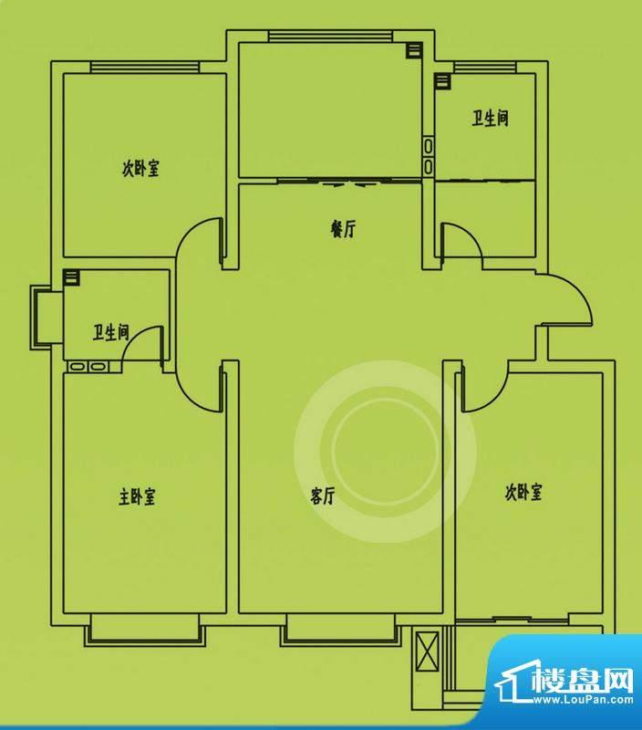 惠和园6号楼标准层户型 3室2厅面积:125.00平米