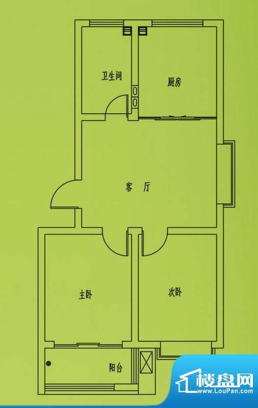 惠和园4号楼标准层户型 2室1厅面积:75.00平米