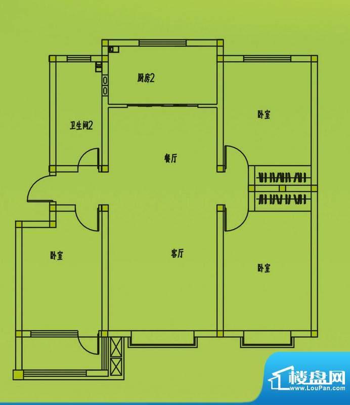 惠和园1、3号楼标准层户型 3室面积:126.00平米