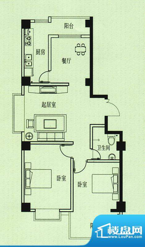 五洲花园户型图 2室2厅1卫1厨面积:94.00平米