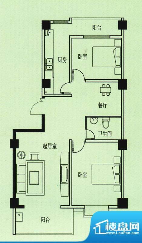 五洲花园户型图 2室2厅1卫1厨面积:101.00平米