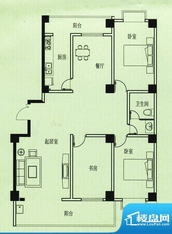 五洲花园户型图 3室2厅1卫1厨面积:139.00平米