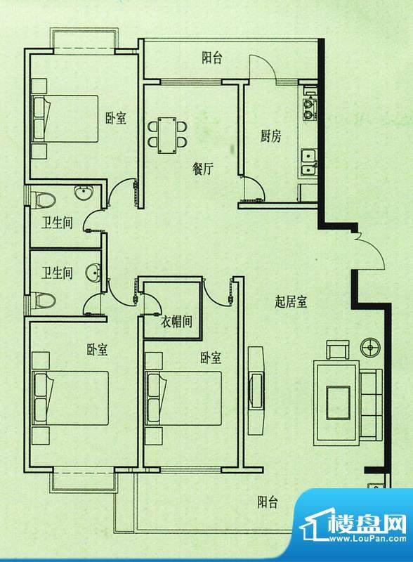 五洲花园户型图 3室2厅1卫1厨面积:143.00平米
