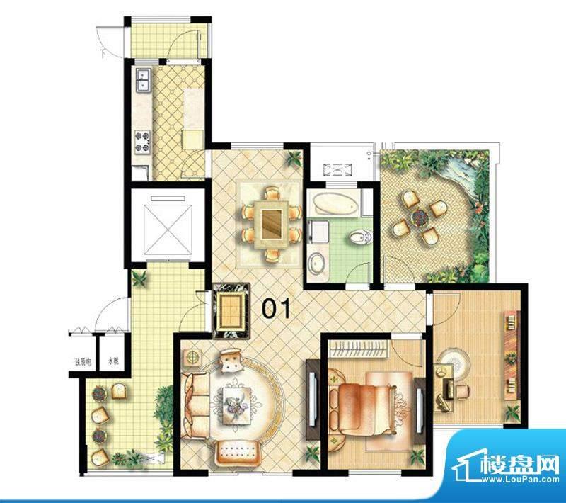 绿地商务城92#楼22层1单元01室面积:117.00平米