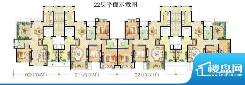绿地商务城92#楼22层平面示意图面积:117.00平米
