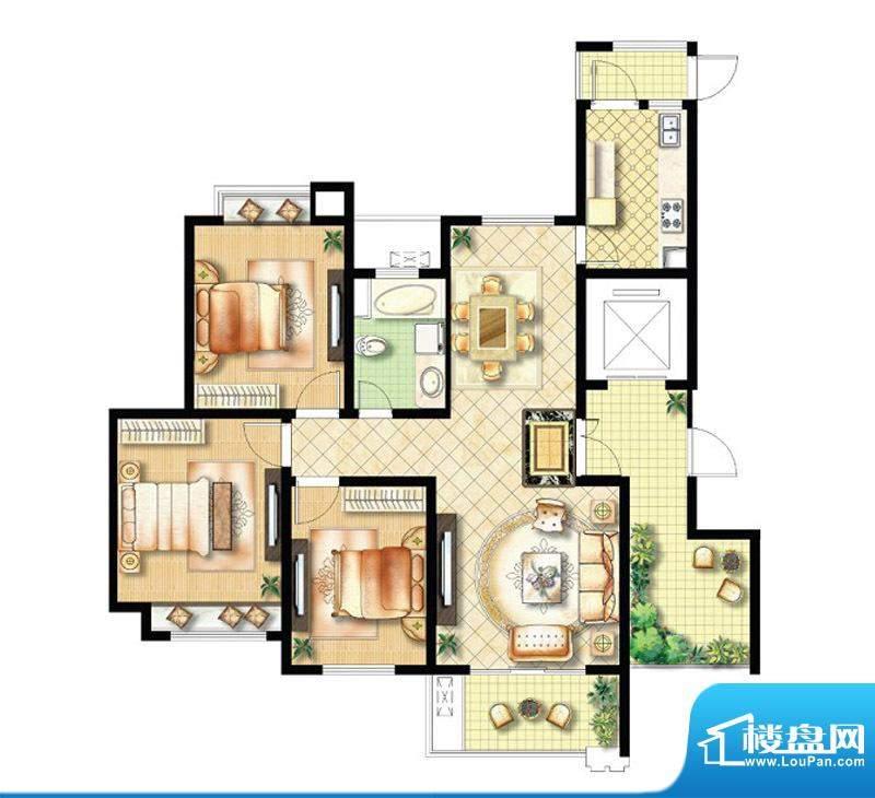 绿地商务城香颂95#楼标准层1单面积:129.00平米