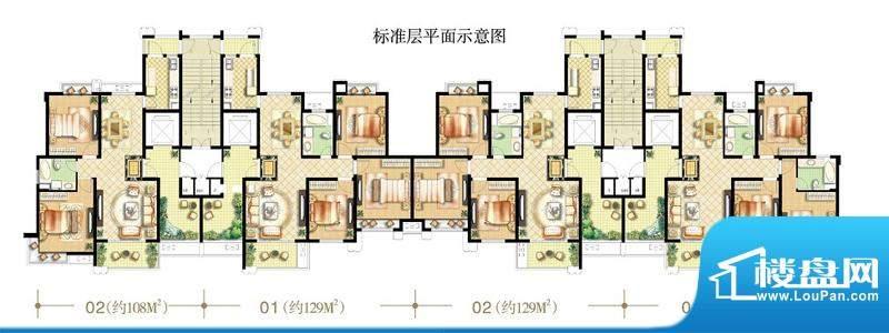 绿地商务城香颂95#楼标准层平面面积:133.00平米