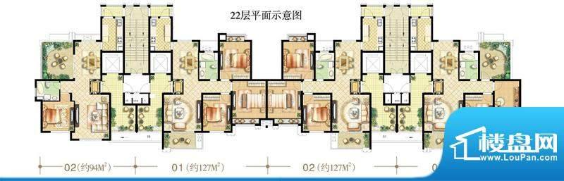 绿地商务城香颂95#楼22层平面示面积:117.00平米