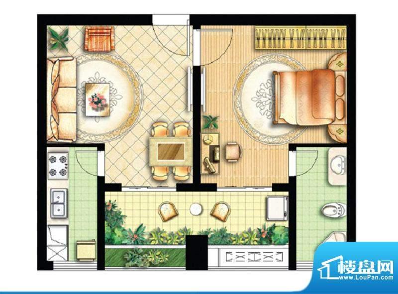 绿地商务城迷你跃馆10室户型 1面积:64.00平米