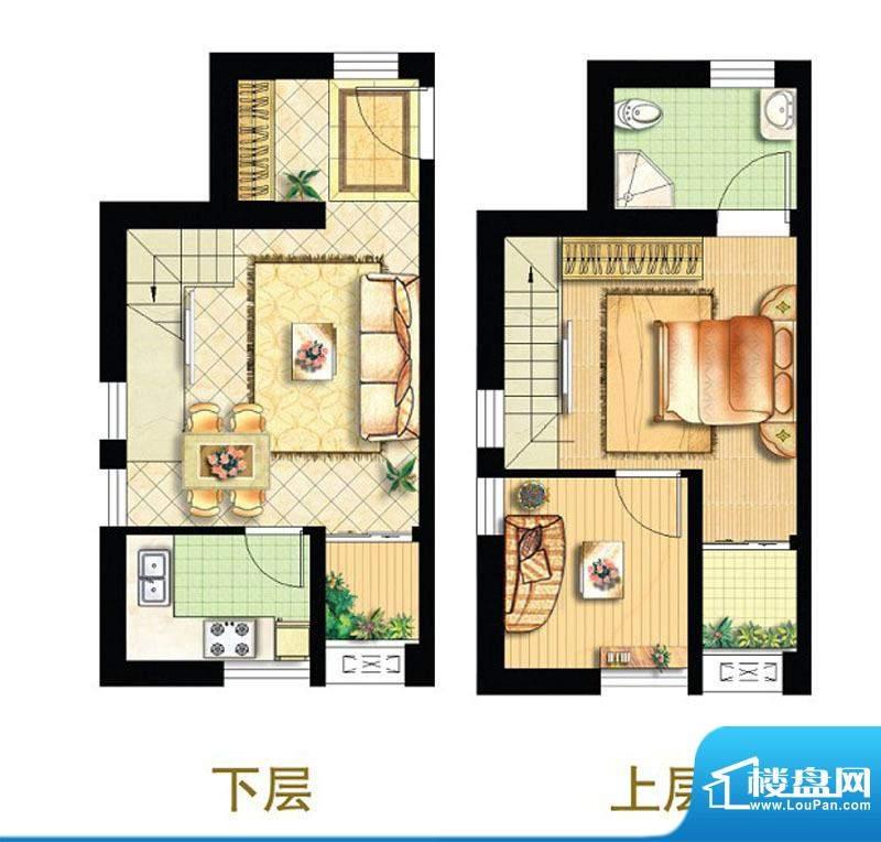 绿地商务城迷你跃馆16室跃层户面积:81.00平米