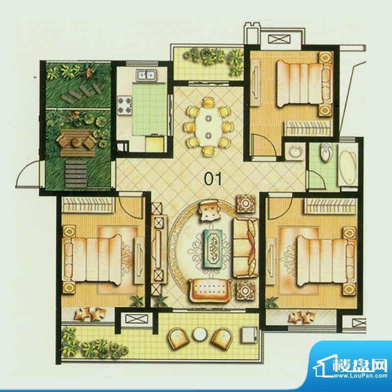 绿地商务城61#楼常规户型 3室2面积:123.00平米