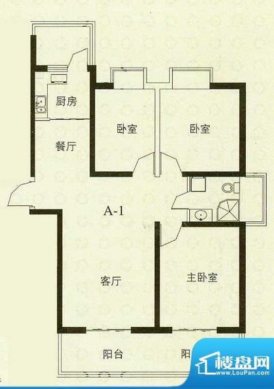 华辰丽景A1户型 3室2厅1卫1厨面积:114.71平米