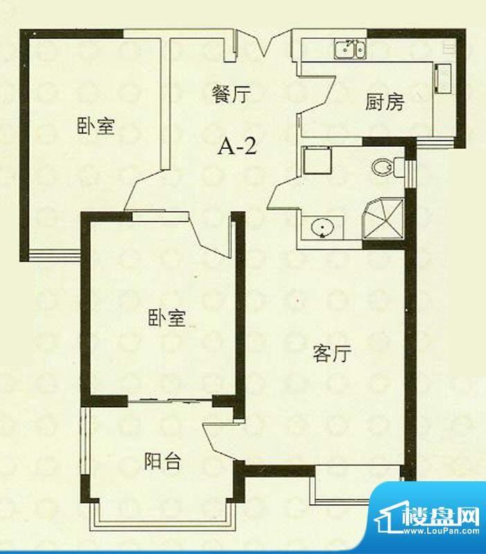 华辰丽景A2户型 2室2厅1卫1厨面积:92.65平米