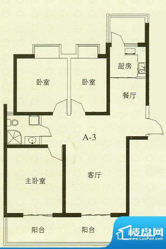 华辰丽景A3户型 3室2厅1卫1厨面积:115.45平米