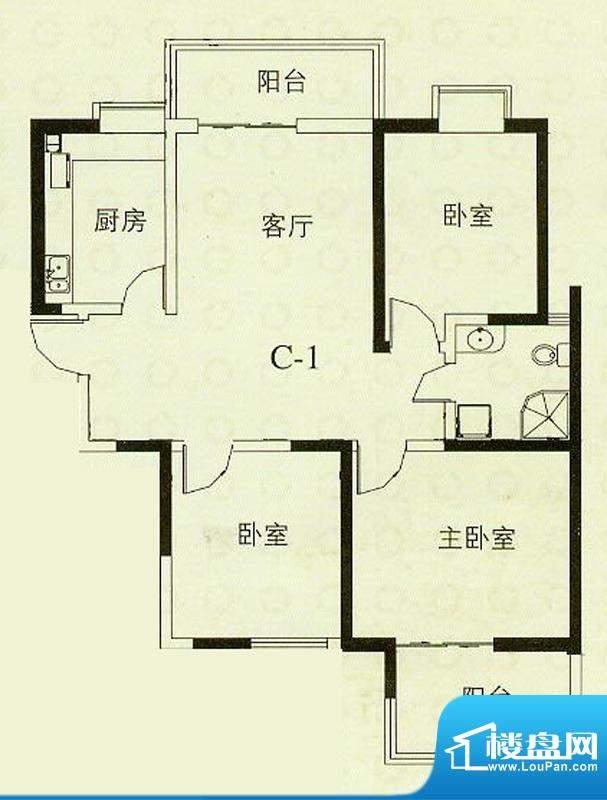 华辰丽景C1户型 3室2厅1卫1厨面积:111.98平米
