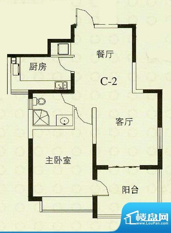 华辰丽景C2户型 1室2厅1卫1厨面积:79.13平米