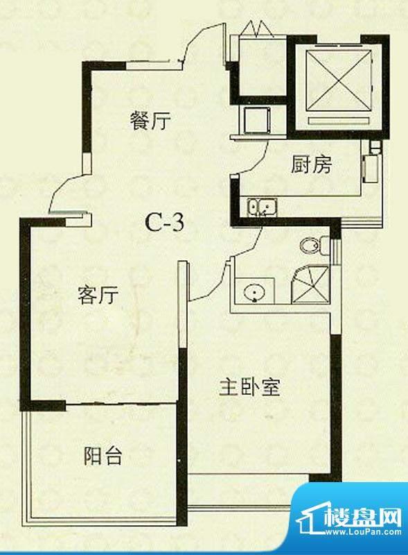 华辰丽景C3户型 2室2厅1卫1厨面积:92.28平米