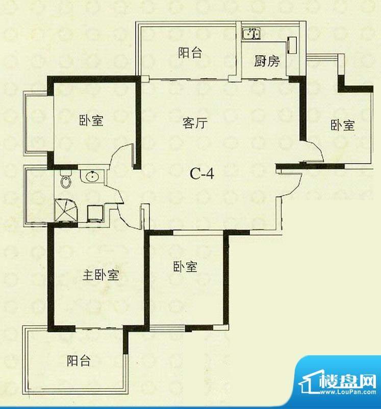 华辰丽景C4户型 3室2厅1卫1厨面积:115.43平米
