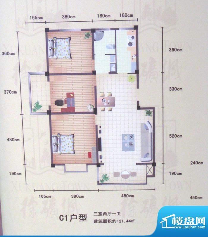 徐矿城C1户型(2012-01-20) 3面积:121.44平米