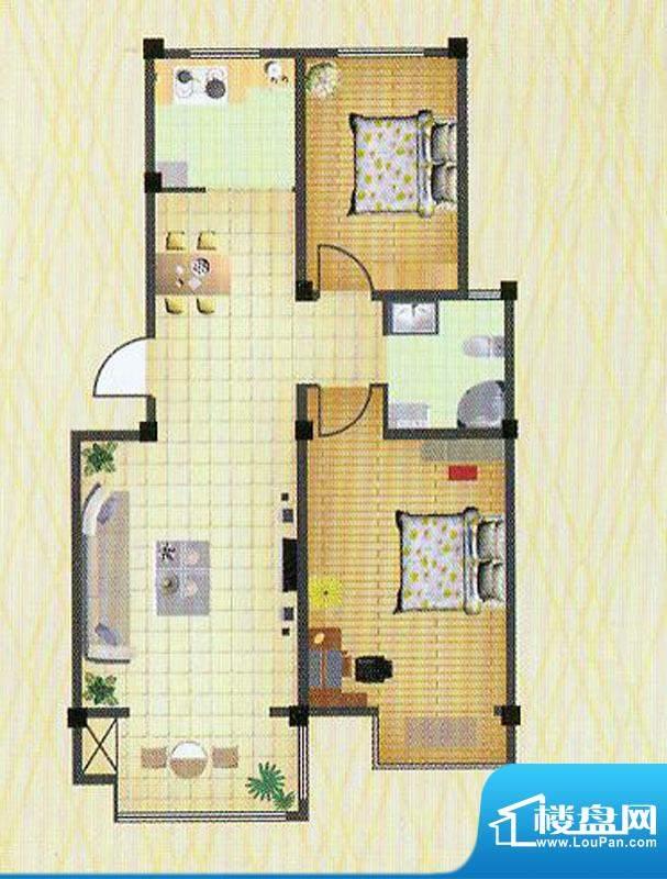 徐矿城多层B1户型 3室2厅1卫面积:90.49平米
