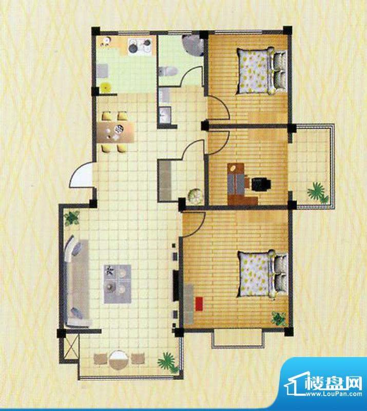 徐矿城多层C2户型 2室2厅1卫面积:115.50平米