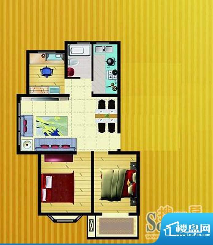 郡望花园K1户型 3室2厅1卫1厨面积:88.92平米