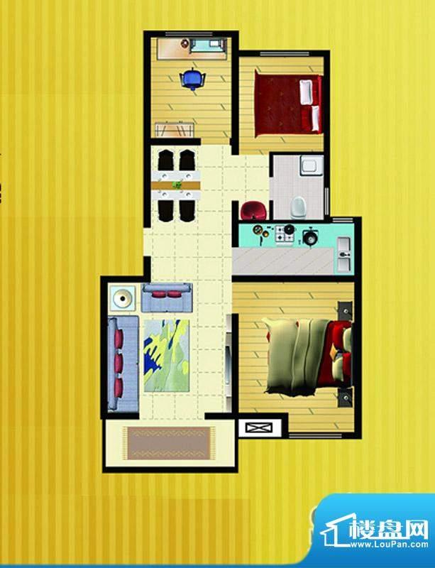 郡望花园K2户型 3室2厅1卫1厨面积:87.05平米