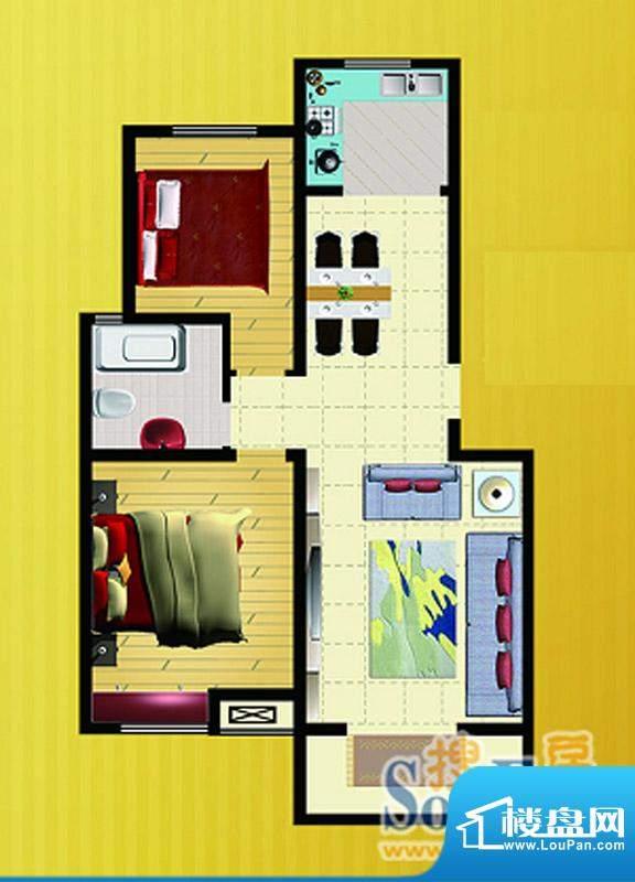 郡望花园K3户型 2室2厅1卫1厨面积:85.44平米